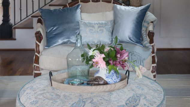 Blue Ruffled Slipcover Adds Elegance