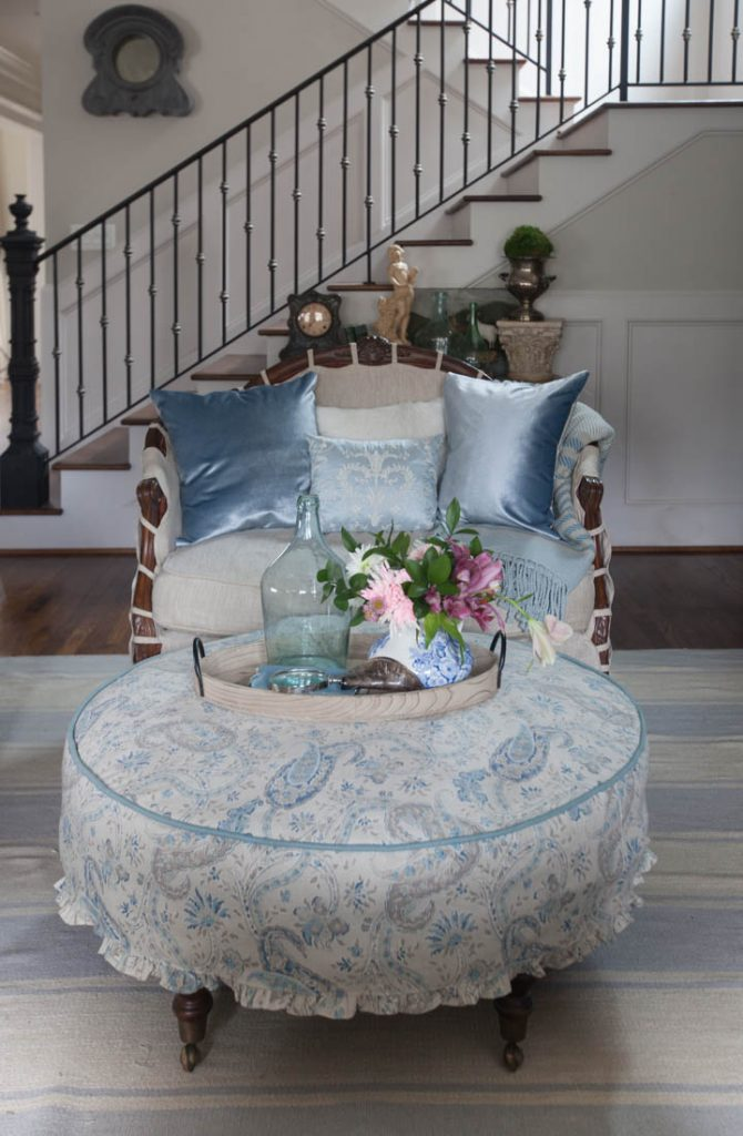 Blue ruffled slipcover