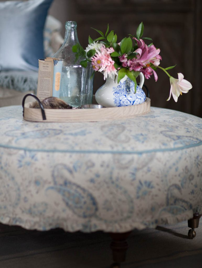 Blue ruffled slipcover country french flowers