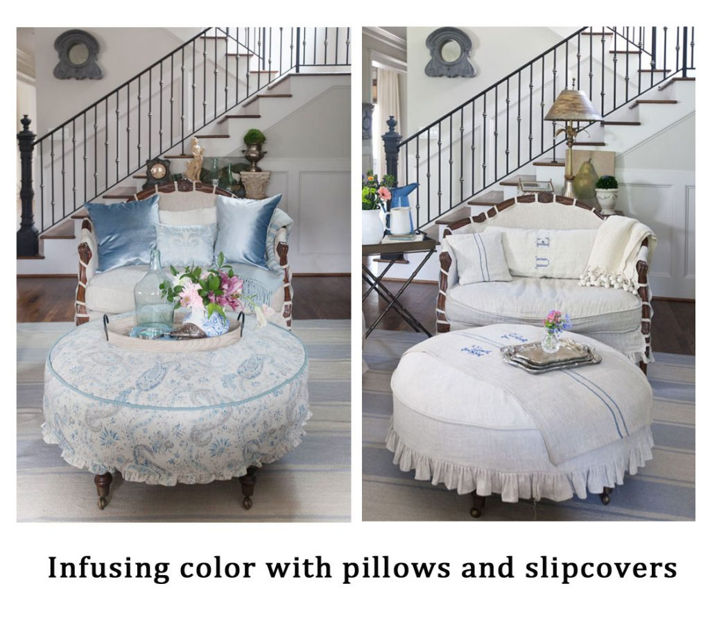 Blue ruffled slipcover before and after