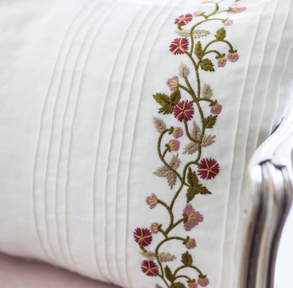 Pintuck pillow embroidery