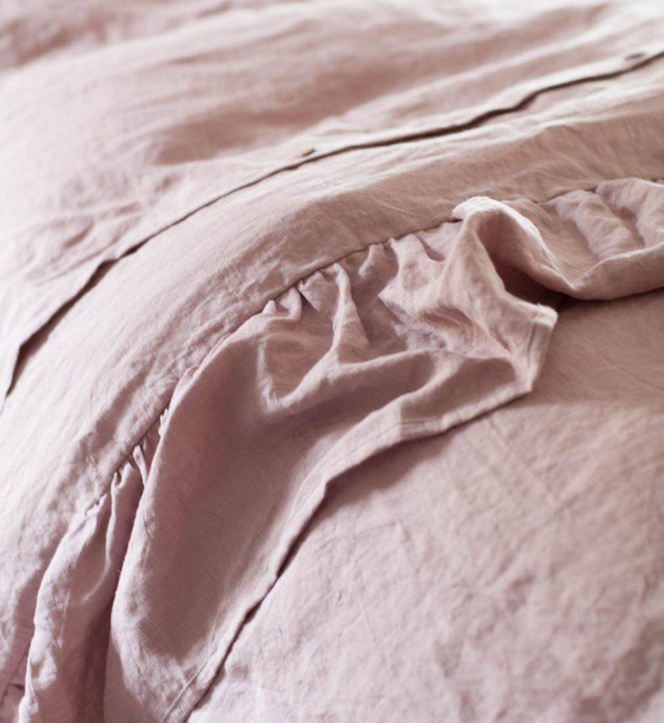 linen ruffled duvet close up