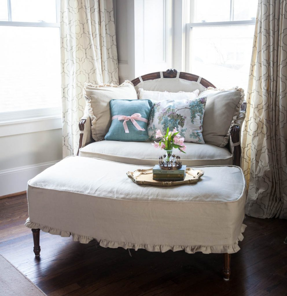 linen ruffled duvet cover and linen covered chair