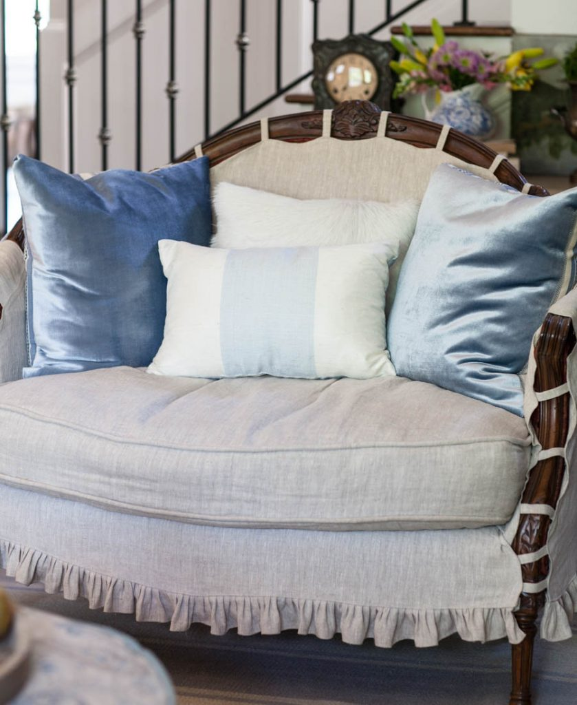 Silk Blue Striped Pillow and velvet pillows