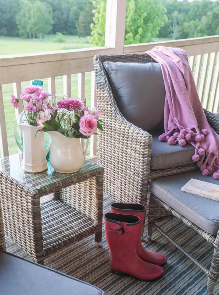 Porch refresh for summer pink throw