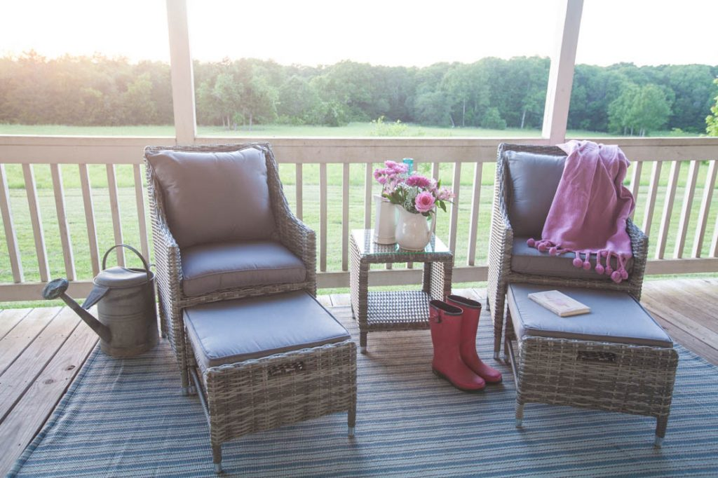 Porch refresh for summer chairs setting sun