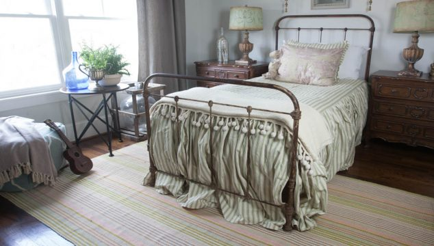 Colorful Striped Rug for the Bedroom
