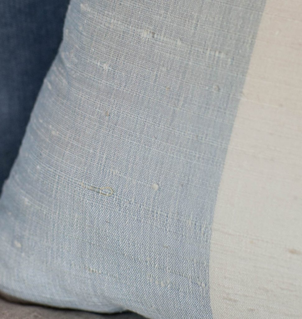 Silk Blue Striped Pillow details