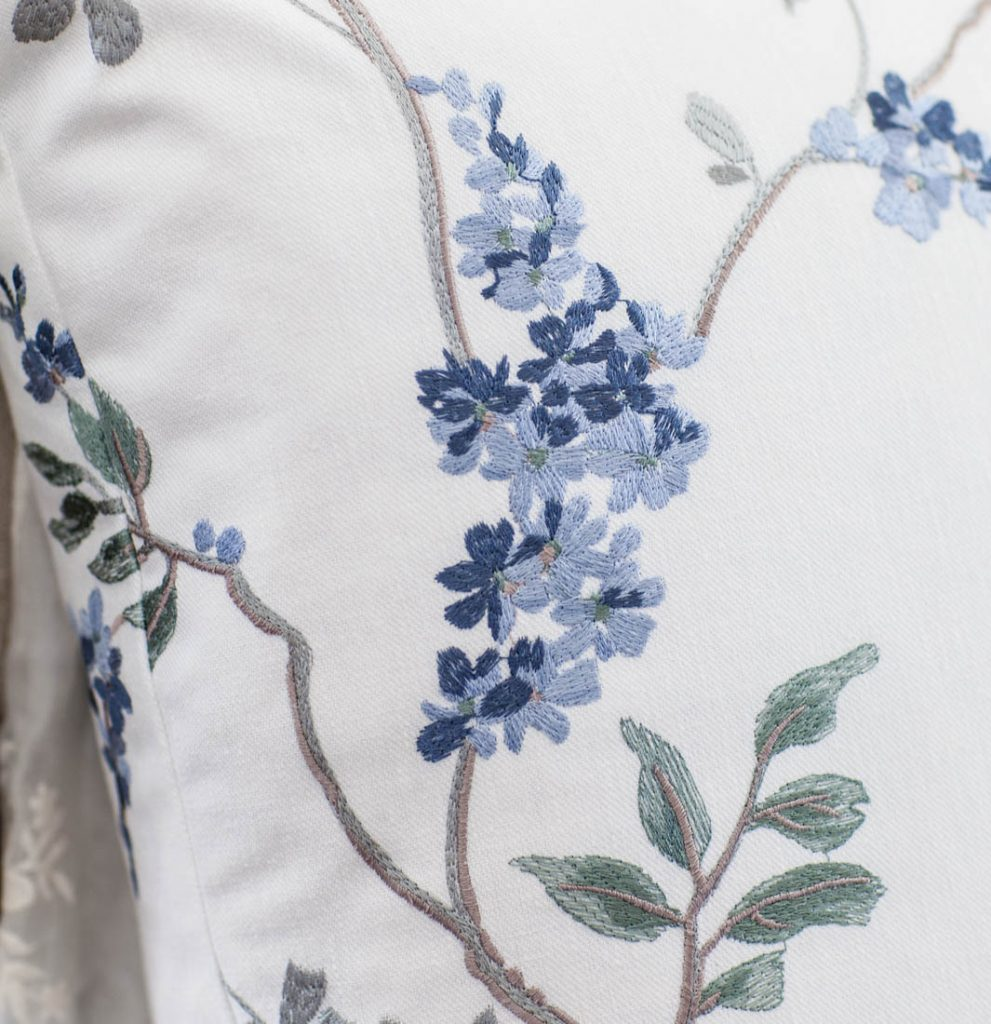blue floral embroidery pillow details