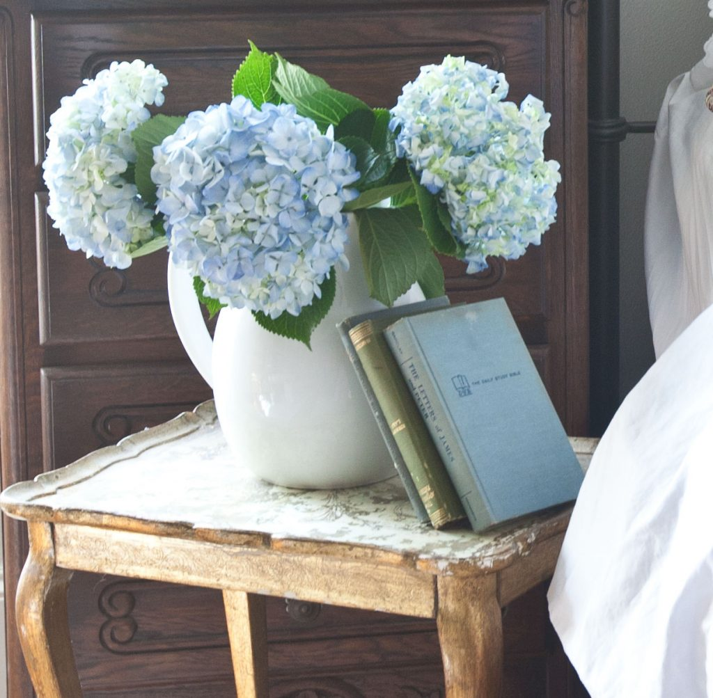 Comfy sheets and hydrangeas