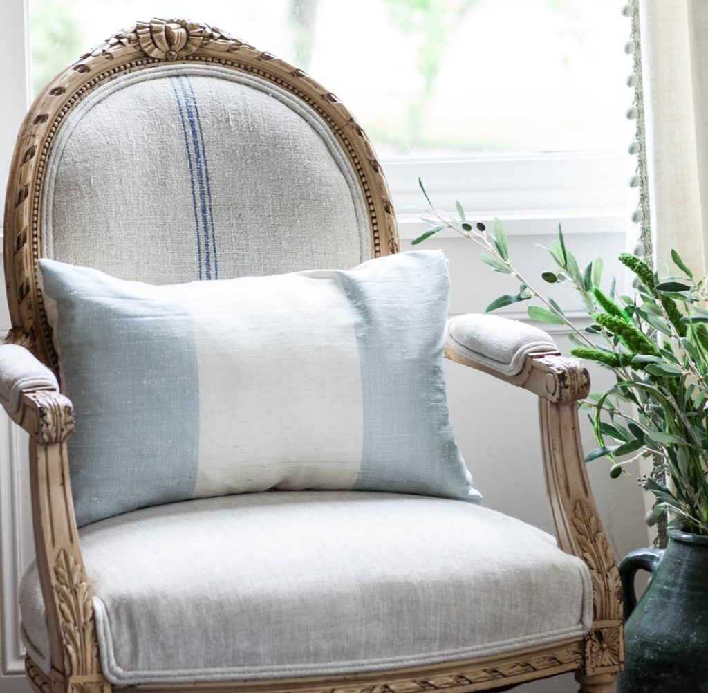 Silk Blue Striped Pillow on French chair
