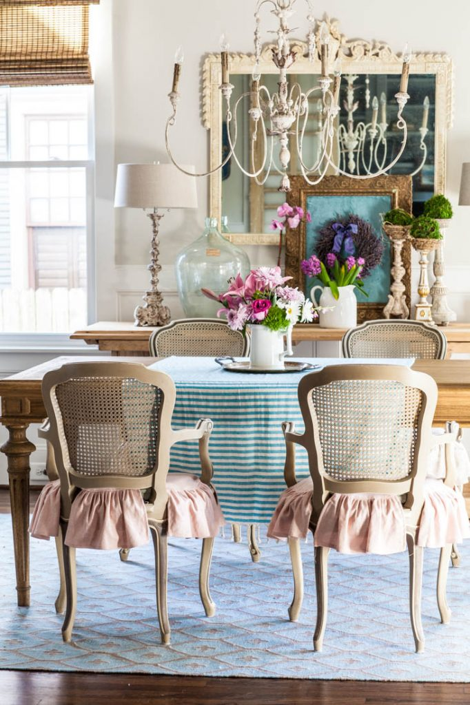 decorate for spring with a striped tablecloth