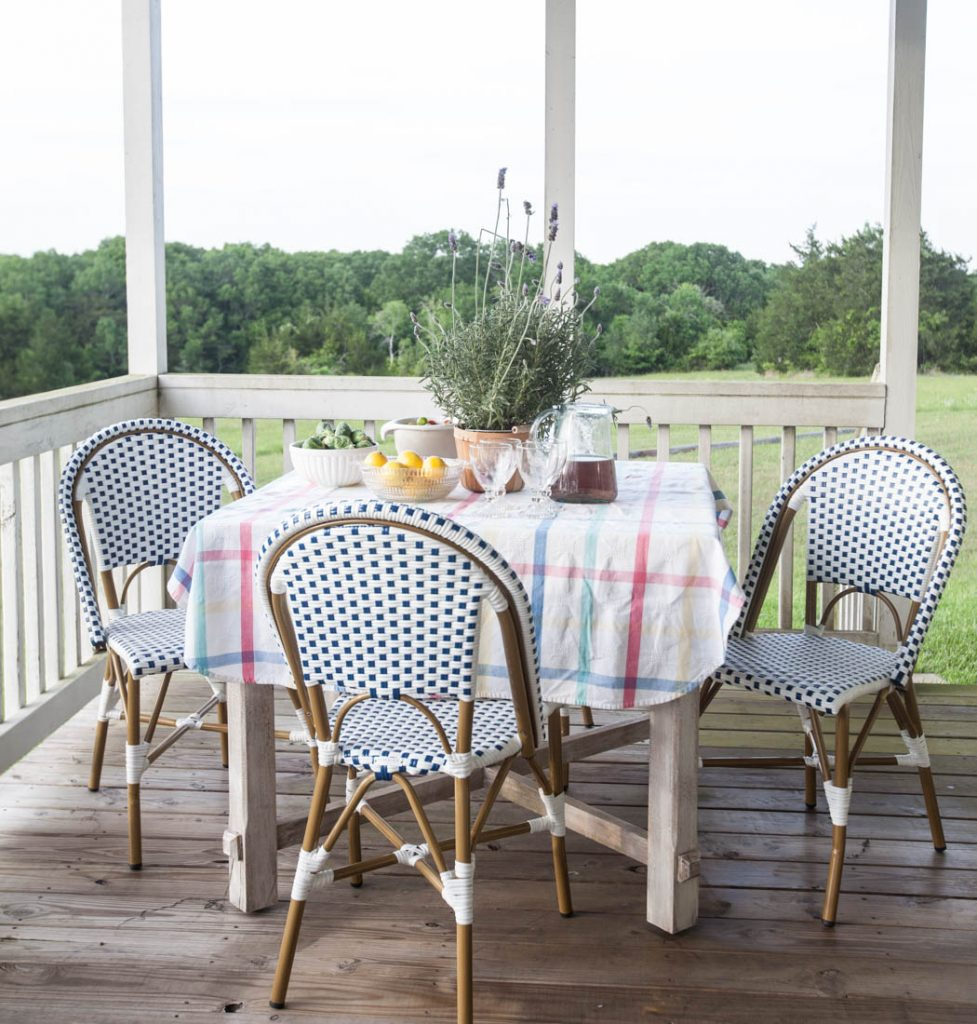 Porch refresh for summer blue chairs