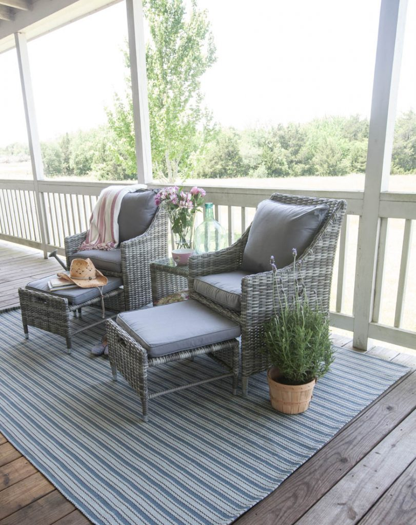 Porch refresh for summer wicker chairs