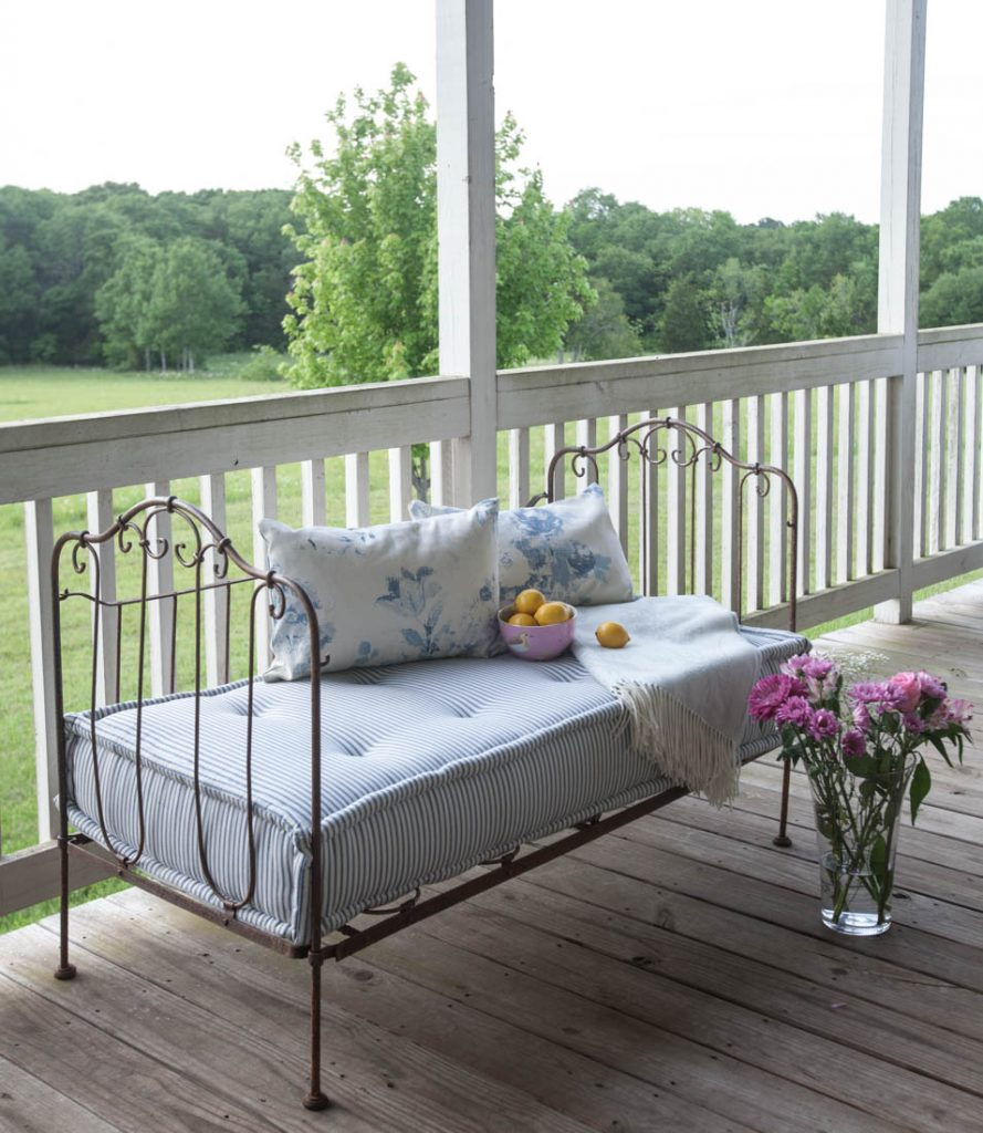 blue porch pillows