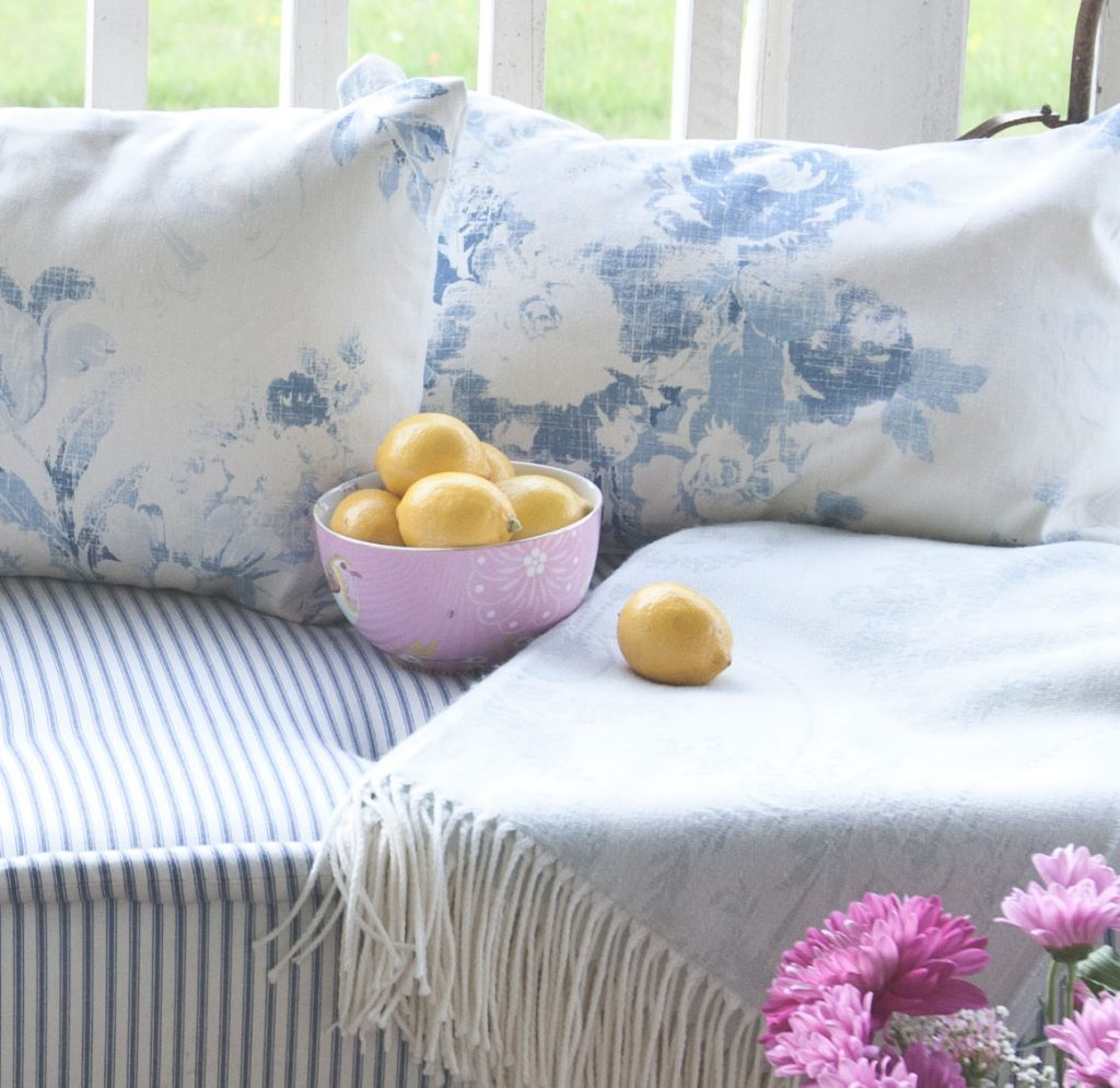 blue porch pillows floral