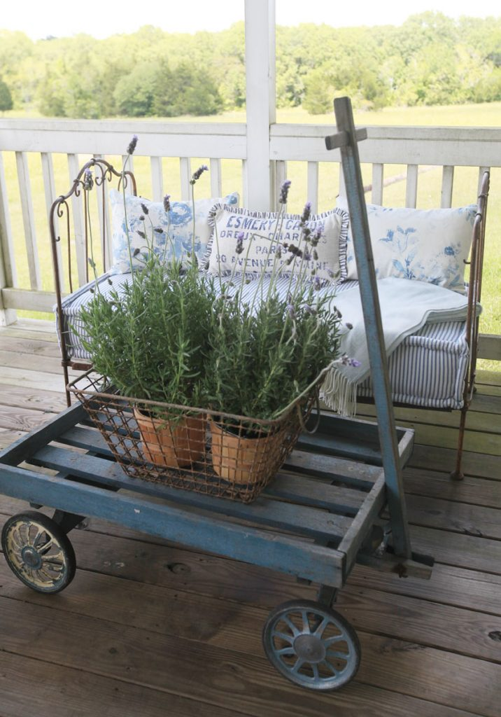 blue porch pillows and lavender